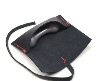 Black leather pouch for knuckle roller