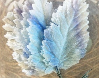 Velvet Leaves / Vintage Millinery / Variegated Ombre Blues / Bunch of Six Stems / Graduated Colors