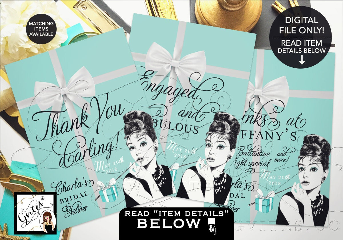 bridal shower signs personalized audrey hepburn party signs thank you breakfast at shower decorations 4x6 or 5x7 set of 3 gvites