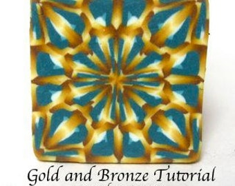 Polymer clay Gold and Bronze Effect cane tutorial