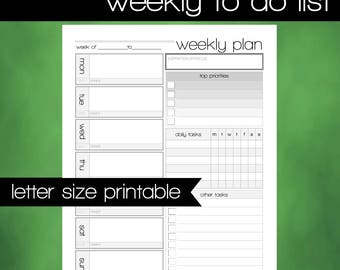Printable Weekly To Do List - Weekly Plan - 8.5x11 Letter Size PDF -  Weekly Agenda - INSTANT DOWNLOAD - Printable Weekly Schedule