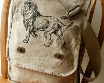 Lion Canvas Messenger Bag Laptop Bag Bag for Men Bag for Women