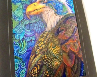 greeting card print of originlal drawing Eagle colorful zentangle