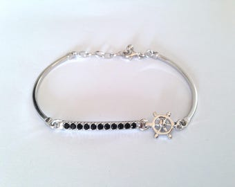 Men's Silver bracelet 925, jewels, bangle, rhodium, cubic zirconia, silver mens bracelets, jewelry, for him, Italy made