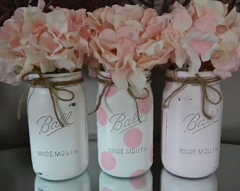 Communion Centerpieces~ Hand Painted Distressed Mason Jars~Polka Dot, Powder Pink, & White~Weddings,Birthdays,Showers,Christenings~ Vases