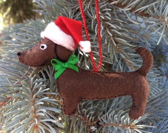 Santa Dachshund Christmas Tree Ornament