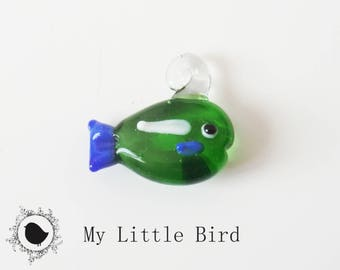 1 x 22mm Green fish keychain