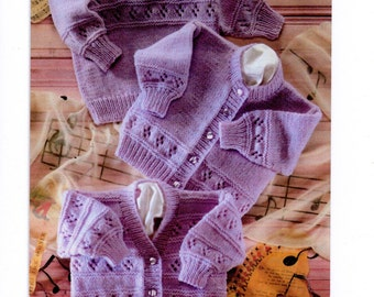 "Vintage Baby Girl Knitting Pattern PDF Instant Download Sweater Cardigan 16-22"" Newborn - 2 years DK"