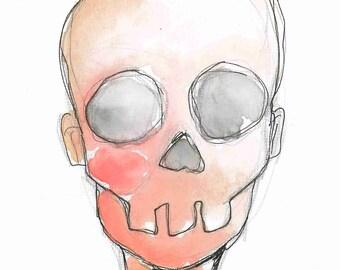 SKULL- Skin- 5x7in Original Watercolor & Ink Portrait, Art board