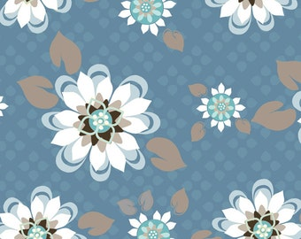 """LAST PIECE 1 Yard 18"""" of Sunshine Blossoms Blue 00286 from ADORNit"""