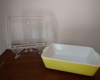 Pyrex 503 2 Pc Primary Yellow Glass Refrigerator Dish with Lid