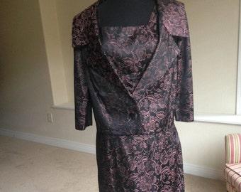 Vintage Black Brocade Pencil Dress Matching Jacket 1960