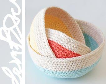 "DIY Crochet PATTERN - Nesting Color Blocked Bowls  Sizes: 6"", 5"", 4"" diameter (2015004)"