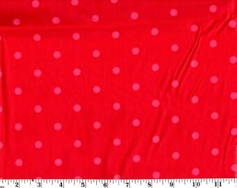 1 Yard, Medium Pink Dots on Red Cotton
