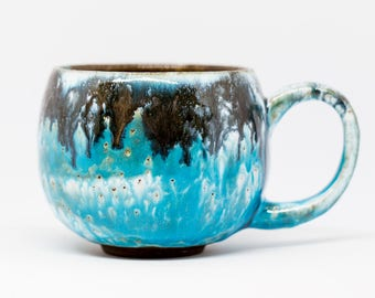 Handmade ceramic blue cup. Pottery mug Ceramic mug Big blue pottery coffee cup Large ceramic pottery cup Handmade coffee cup Handmade mug