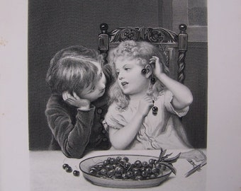 Antique Print CHERRY EARRINGS by Fred Morgan, Victorian Children  Playing at Table, 1880's Engraving by H. Bourne