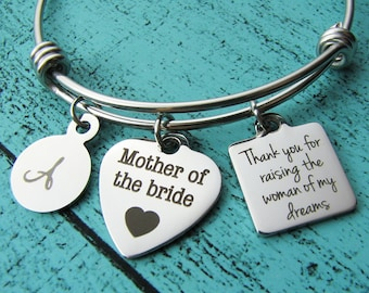mother of the bride gift from groom, thank you for raising the woman of my dreams, wedding gift for mom mother in law parent, bridal jewelry