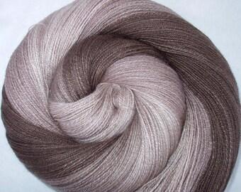 114g (164.03 Euro/100g) Handspun yarn, deluxe yarn, silk and lambswool, hand dyed lace yarn, brown, taupe, TRIPLE COFFEE, 1020m, 4oz/1133yds