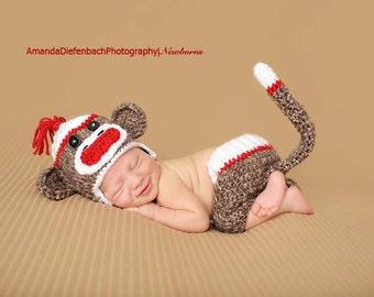 Baby  Monkey Set/Monkey Newborn Hat/ Crochet Monkey Hat/ Gender Neutral Prop/Baby Boy Prop