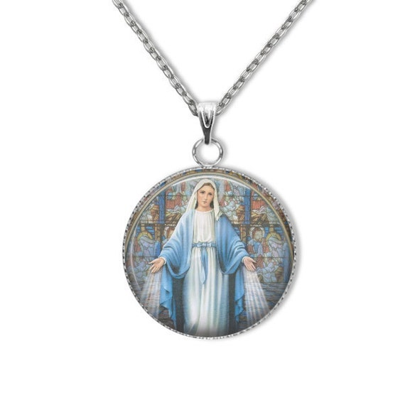 Blessed Virgin Mary Medal, Stainless steel with 18, 20, 22 or 24 inch chain - Blessed Virgin Mary Necklace