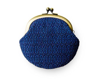 Metal frame coin purse // Embroidered Navy Blue Lace