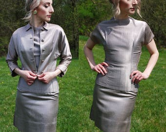 40's 50's Vintage 3 Piece Set HANDMADE Top, Pencil Skirt, Cropped Jacket, Striped, Suit Set, Hourglass, Pinup Bombshell, Mad Men, Size S