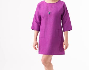 Hemp/Silk A-Line Shift Dress with Three-Quarter Sleeves in Plum Purple - Hand-Dyed, Sustainable, Artisan Made in USA