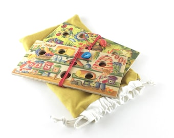 Game of ' mouses on a string ' in a self-made fabric pouch