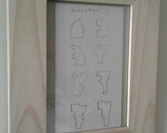 "Architectural Napkin Drawing / Unique Modern ""Modulars"" \ Made Circa 2008"