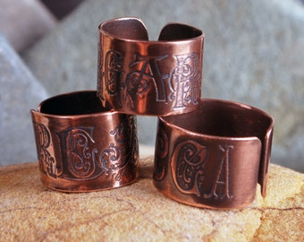 Personalised name ring - Adjustable copper name ring - personalised letter jewellery