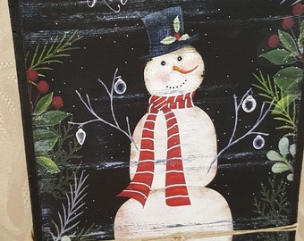 Let It Snow Small Wood Block