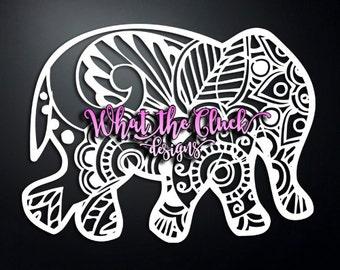 Paisley Elephant - Vinyl Sticker Decal - 6.75 in. x 5 in.