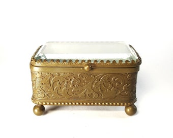 Antique Brass Jewelry Casket, Made in Germany