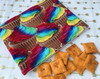 Rainbow Cupcakes Reusable Snack Bag