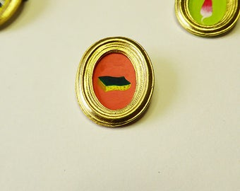 Small handpainted Golden frame brooches
