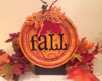 Fall Pumpkin Tin Upcycled Tin Mantle Decor Fall Decor Handmade Housewarming Holiday Decor Shelf Sitter Autumn Decor Country Home Decor