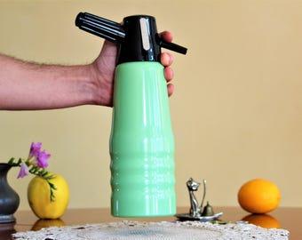 Vintage Seltzer Bottle - Soda Siphon Bottle - Aluminium Soda Bottle - Green Soda Syphon - Water Siphon - Vintage Bar Decor