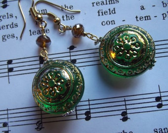 Green and Gold Antique Style Earrings
