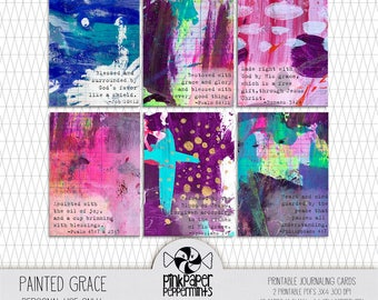 Printable Bible Journaling Cards with Scripture Verses - Illustrated Faith cards for Scrapbooking, Faith Art & Christian Faith Planners