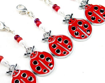 Lady Bug Charm. Birthday Party Favour. Five Red Ladybug Charms. Cute Lady Bug Keychain. BSC044