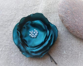 Green Flower hair clip green hair barrette green flower ceremony accessory