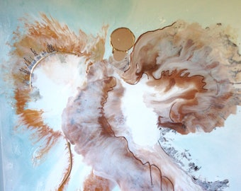 Large Fluid Acrylic painting, Abstract Angel Painting, Resin Art, Large Abstract art, Gold Abstract