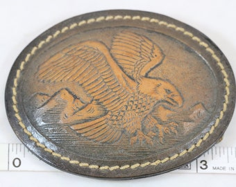 Vintage 1970s Bald Eagle Flying Over Mountains Brown Leather Belt Buckle