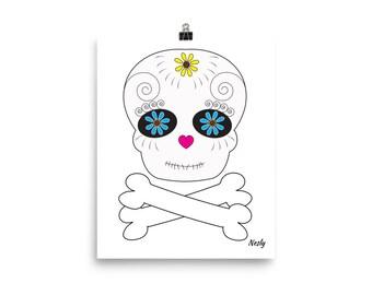All Souls Day Sugar Skull Day of the Dead Skull and Bones Poster Print Dia de los Muertos Calaveras Poster