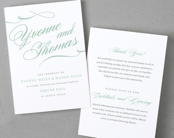 Printable Wedding Program Template | INSTANT DOWNLOAD | Aqua Script | Folded 5x7 | Instant Download | Word or Pages | Mac or PC