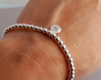 Sterling Silver / Gold filled bracelet with Initial charm
