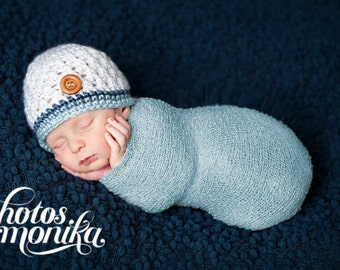 Newborn Photo Prop, Baby Boy Hat, Ready to Ship, Coming Home Outfit, Crochet Baby Hat, Gift for Baby Boy, Newborn Boy Hat, Boy Toddler Hat