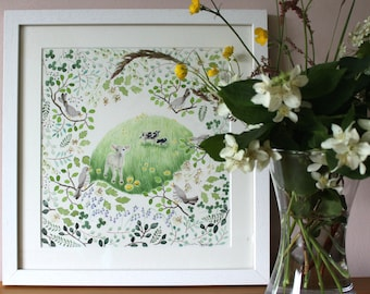 Valentines art, Birds and bees, Spring painting, Nature lovers gift, Gift for gardener, Gift for animal lover, Springtime, Gift for new baby