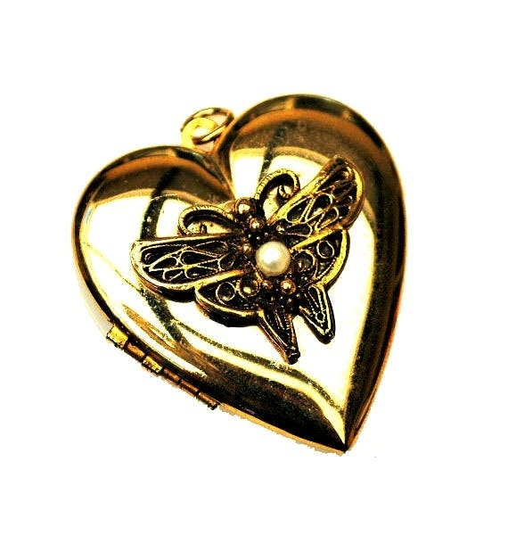 Gold Heart Locket Pendant - White pearl - Butterfly - charm gold plated