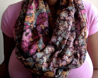 Beautiful Reversible Floral Infinity Scarf